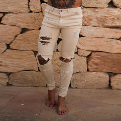 Men's jeans with ripped beggar pants