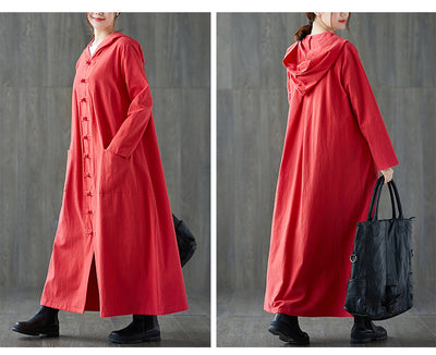 Hanfu cotton and hooded robes