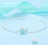 Cute Epoxy Blue Water Spray Small Whale Silver Bracelet Accessories Creative Gift Student Female