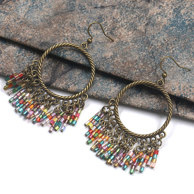 Bohemian new hand-woven colorful rice beads tassel earrings earrings girl temperament wild explosion accessories