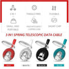 3-in-1 spring USB cable with iPhone/Type-C/Android adapter