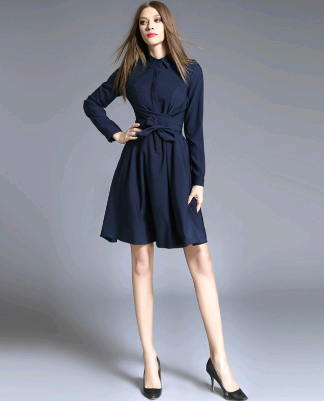 Large size women's spring new lapels five-point sleeves slim slimming bow shirt dress