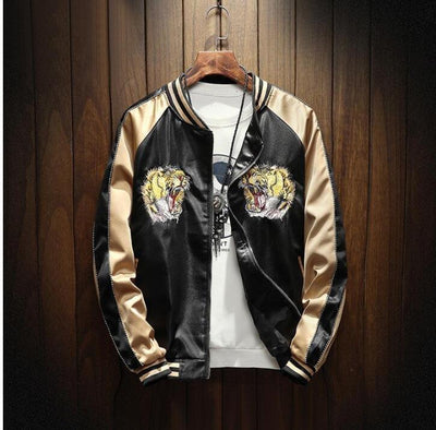 Autumn and winter men's national tide wholesale European and American fashion embroidery tiger jacket jacket tide brand