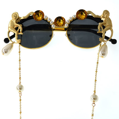 Pearl Crystal Retro Round Large Frame Sunglasses