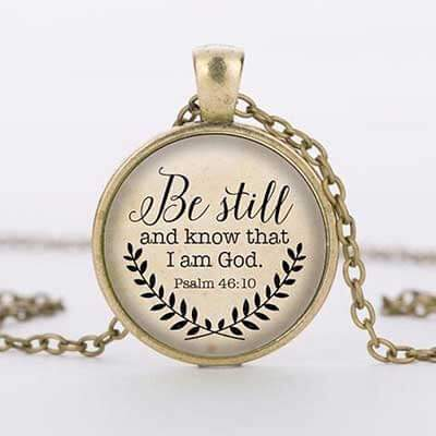 The necklace of the Bible verses must know that I am the god pendant Psalm 46:10 status time gemstone necklace