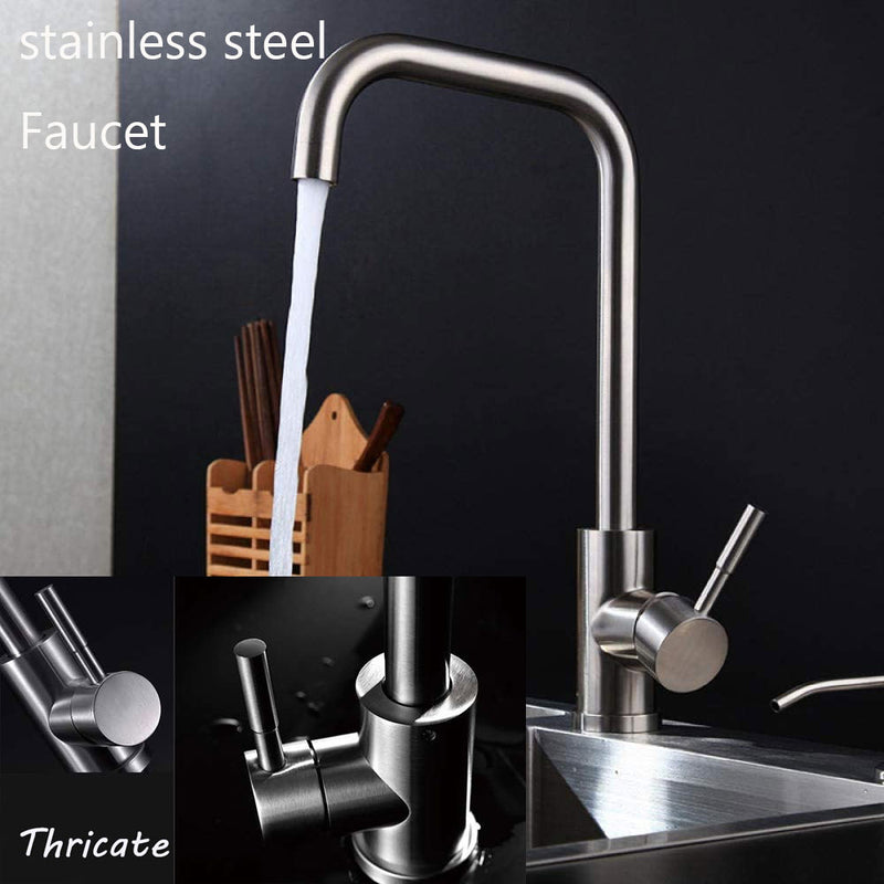 Brushed Nickel Kitchen Faucet Sink Single Handle 1 Hole Swivel Mixer Sprayer Tap