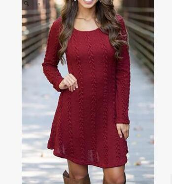 Women Causal  Short Sweater Dress Female Autumn Winter White Long Sleeve Loose knitted Sweaters Dresses