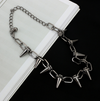 Exaggerated punk rivet clavicle chain