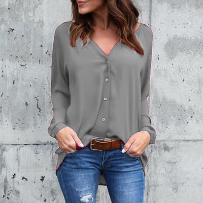 V-neck pleated button chiffon shirt