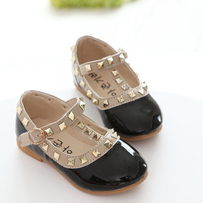Korean version of the autumn children's shoes fashion explosion models girls single shoes wholesale rivet dance princess shoes direct sales