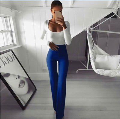 Solid color high elastic slim belly bell pants