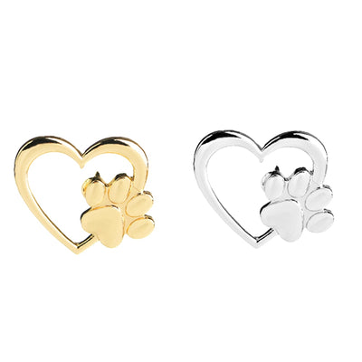 Caring dog paw cutout brooch