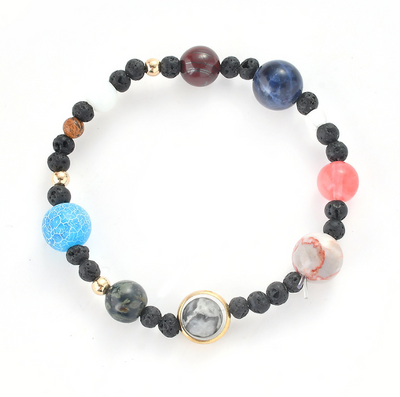 The solar system eight planets beaded bracelets Amazon explosion volcanic stone ornaments stars natural stone bracelets