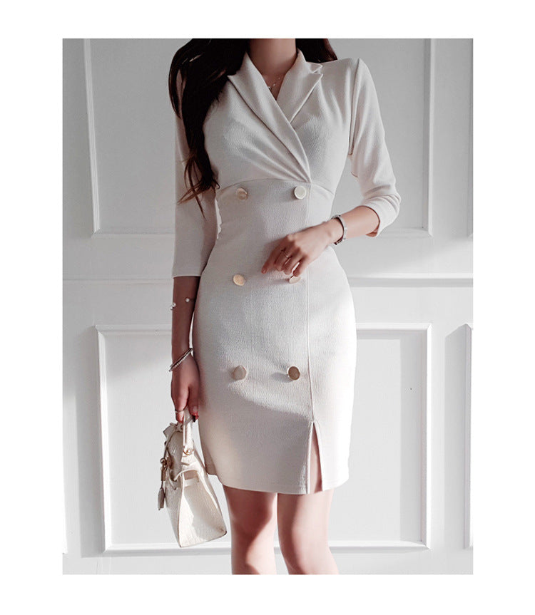 Double-breasted suit collar cropped sleeve dress