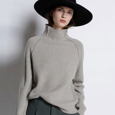 Women's high neck cashmere sweater