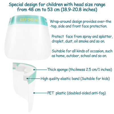 10PCS Kids Safety Face Shield Transparent Breathable Full Face Protective Visor with Adjustable Elastic Band for Child