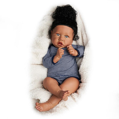 RBG Reborn Baby Doll 22 Inches Lifelike Newborn Cutie Afro African American Baby Vinyl Reborn Baby Doll Gift Toy for Children