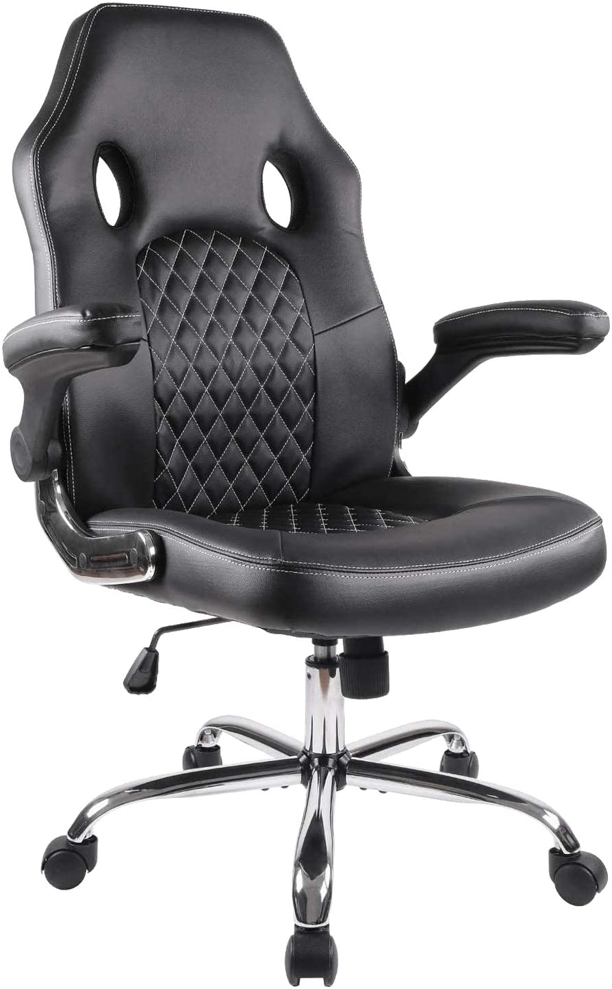 Office Chair, Gaming Chair Leather, Computer Desk Chair Task Swivel Executive Chairs High Back with Padded Seat Armrests and Rolling Casters (Black)