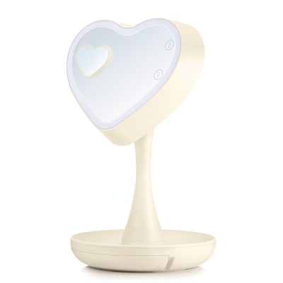 3 In 1 LED Dimmable Makeup Vanity Light Heart Shape Mirror
