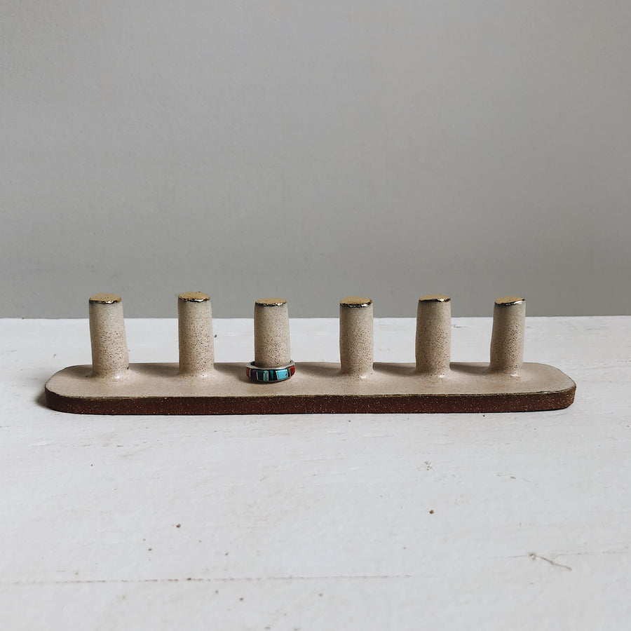 6-Post Ring Holder + Gold