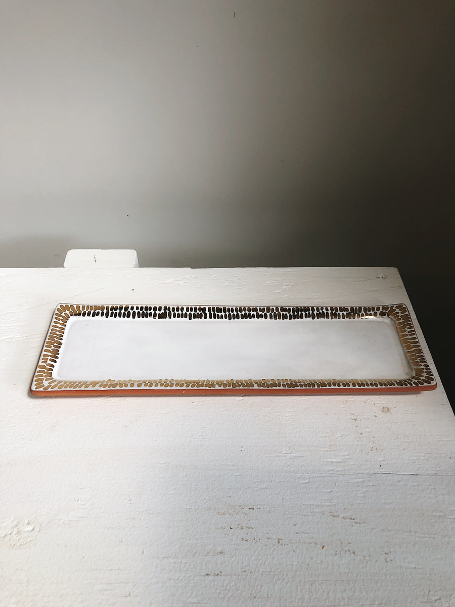 White + Gold Dash Long Tray
