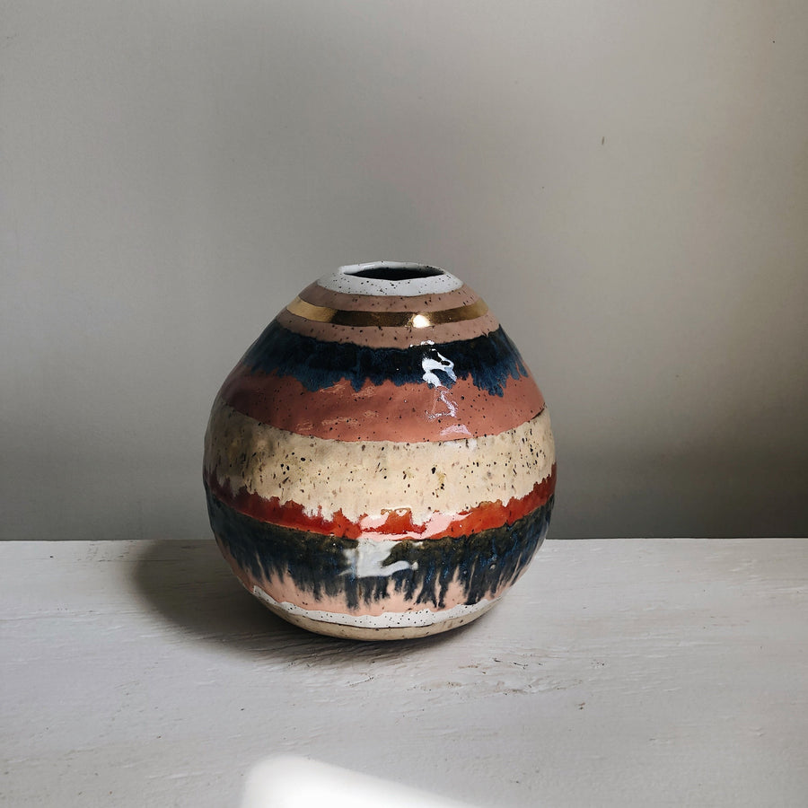 Colorful Striped Spherical Orb Vase