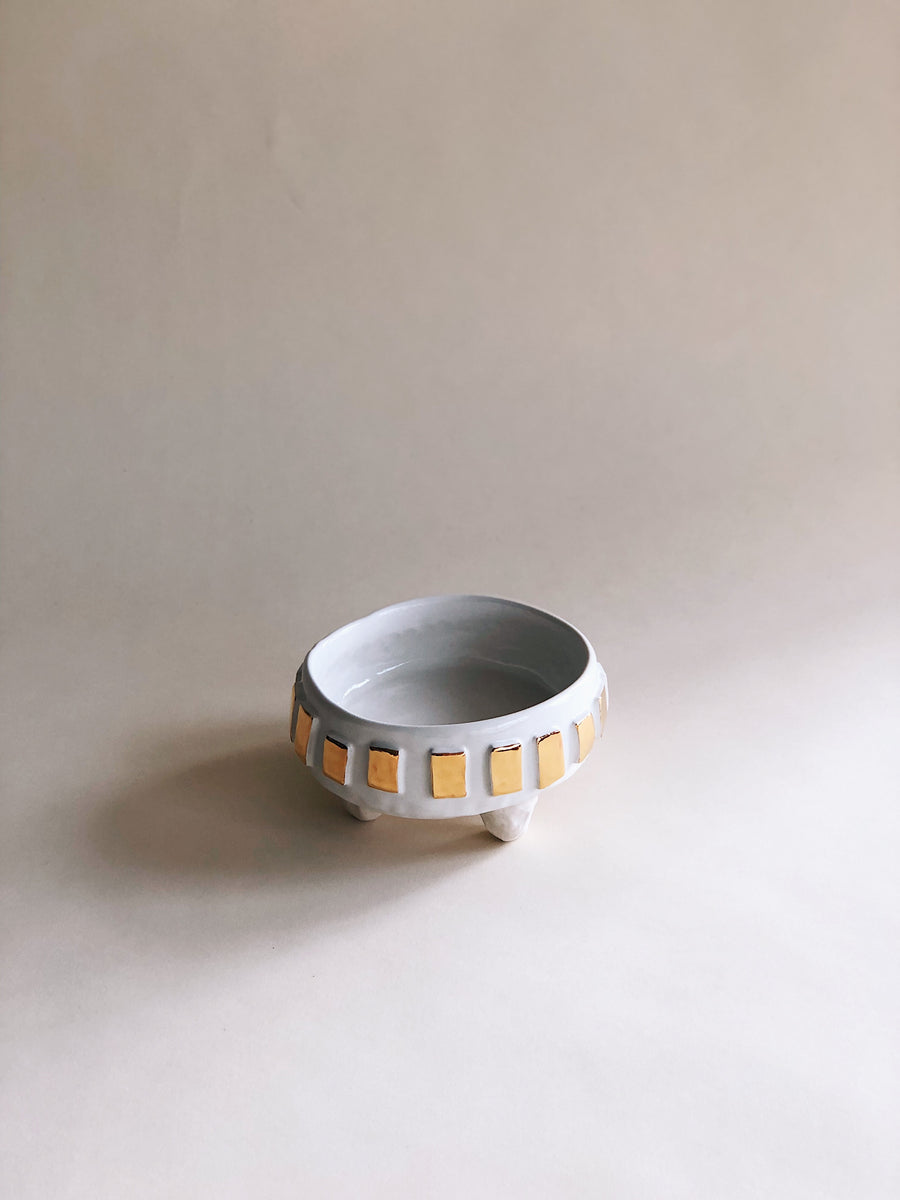Alternative view of a porcelain ceramic bowl, a more ceremonial decorative piece, glazed white and gold handmade by The Object Enthusiast