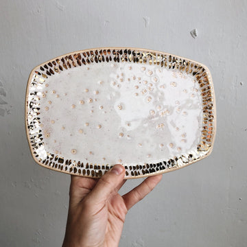 Glossy Cream Oval Tray + Gold