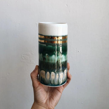 Multi Green Striped Vase + Gold