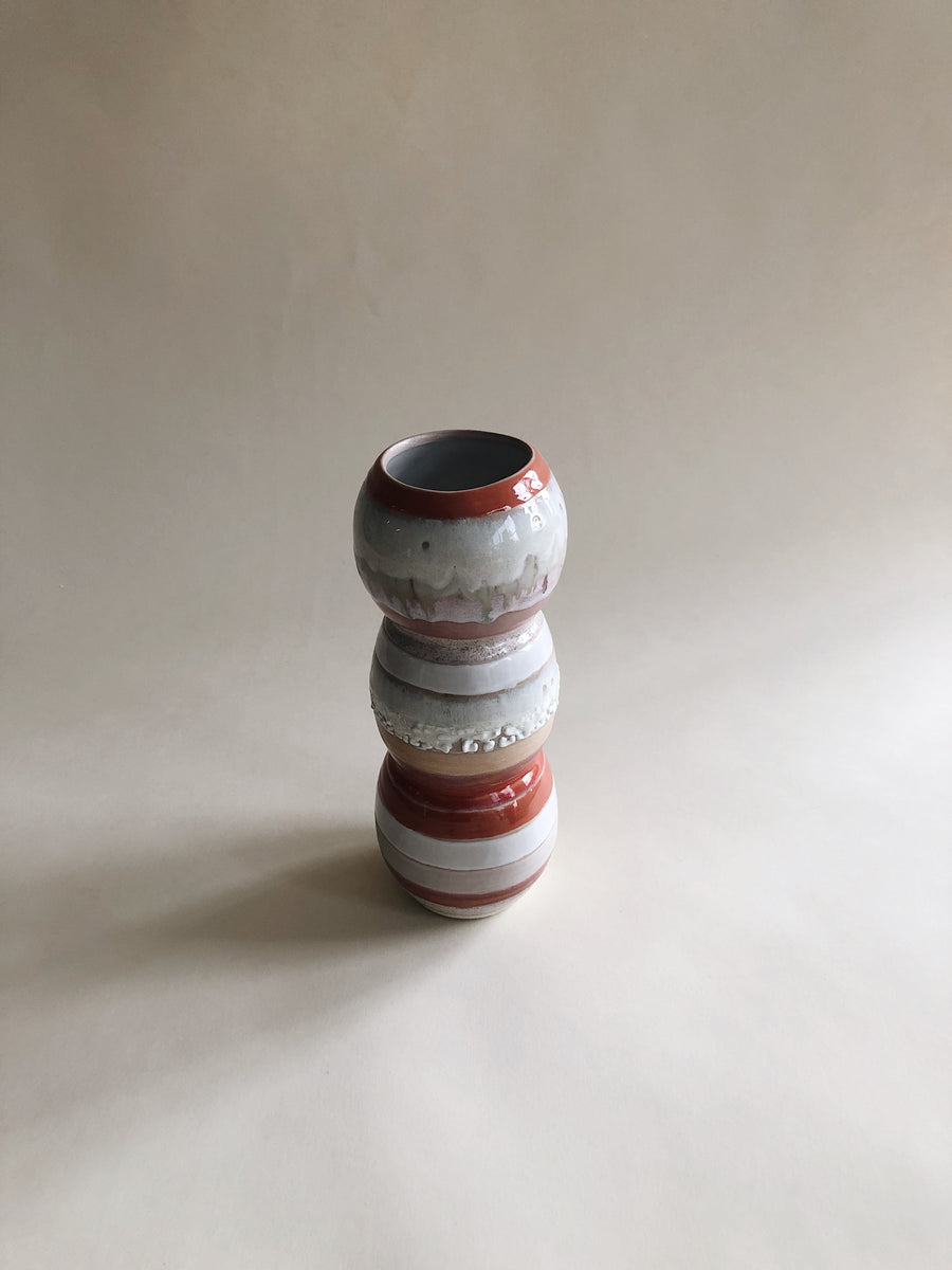 One of a Kind Colorful Striped Porcelain Vase