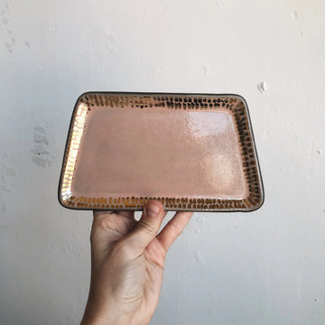 Peach + Gold Dash Trapezoid Tray