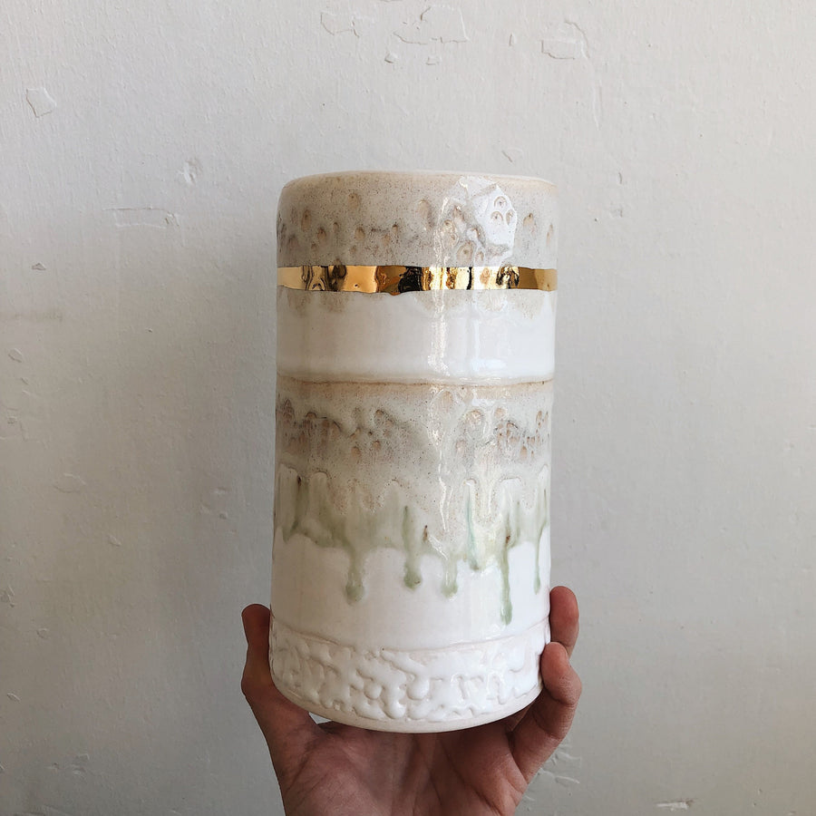 XL Striped Cylinder Vase - White + Gold