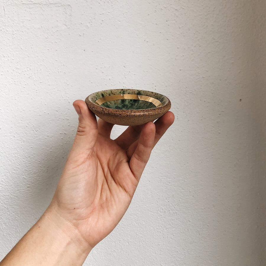 Stoneware Speckled Turquoise + Gold Trinket Dish