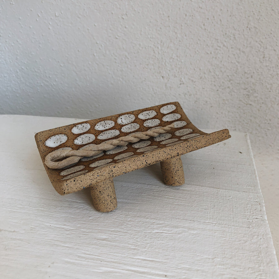White Dash Speckled Incense Tray