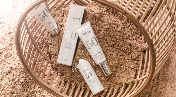 Aspect Sun SPF50 and 50+ skincare range summer beach image