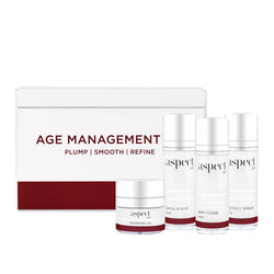 The Aspect Dr Age Management Kit. Restore a youthful appearance to ageing skin. Antioxidants and peptides reveal a smoother more radiant looking complexion. Plump. Smooth. Refine. Australian Skincare routine.