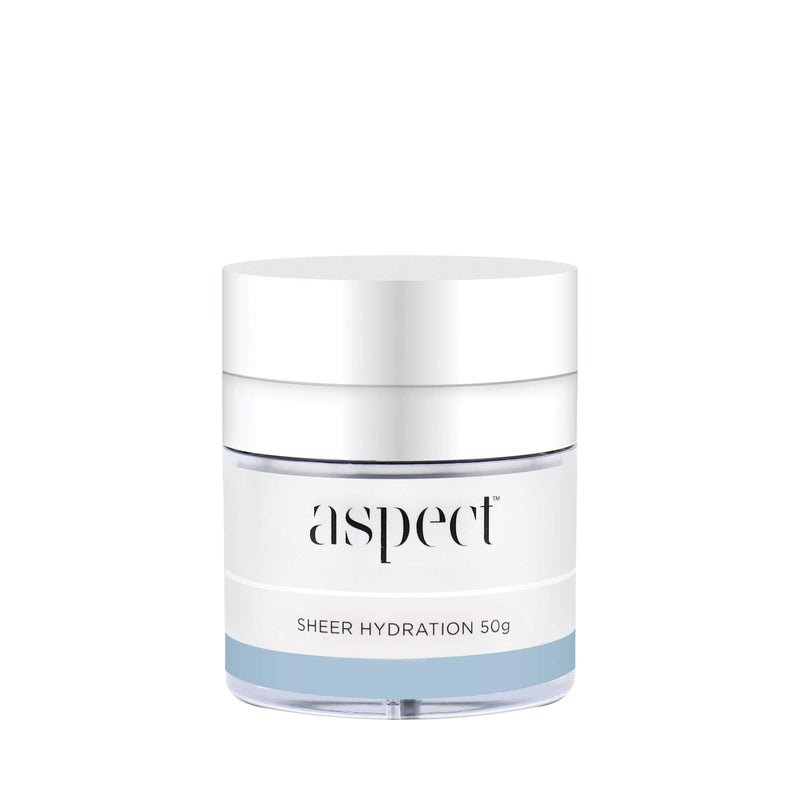 Sheer Hydration moisturiser delivers hydration and antioxidant properties while feeling weightless on skin. • Improves the appearance of fine lines and wrinkles. Vegan friendly skincare. Anti ageing. Aspect skincare. Key Ingredients. Sodium Hyaluronate, Vitamin B5, Canadian Willowherb™ Extract.