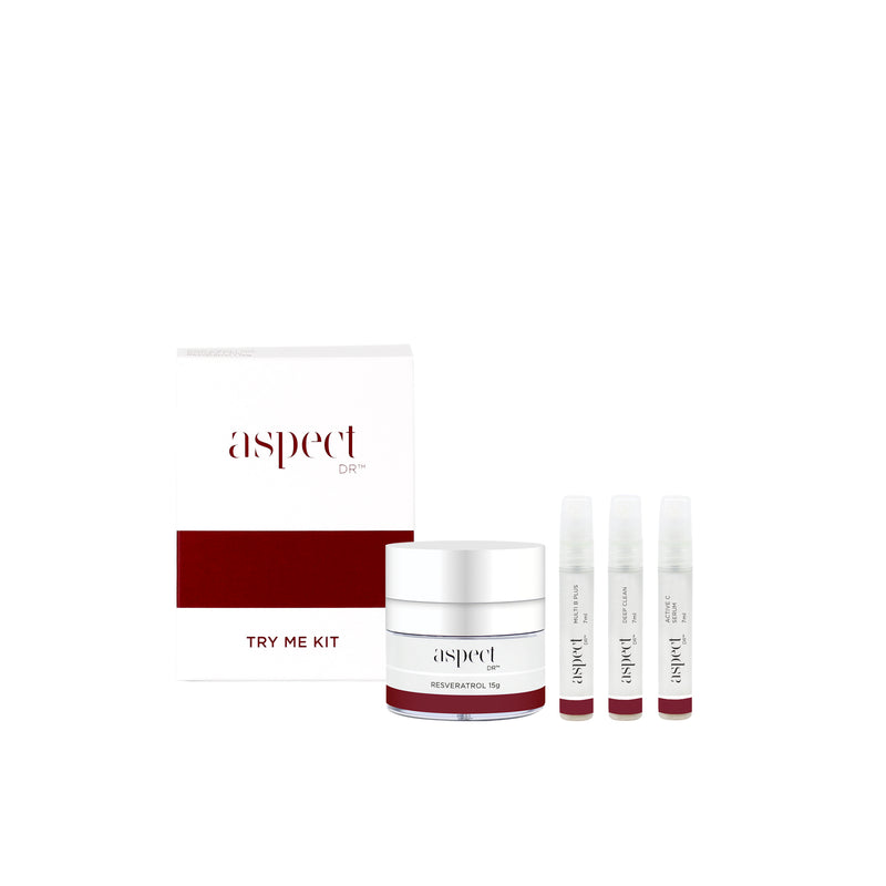 An introduction to the hero products of the results driven skincare that is, Aspect Dr. Deep Clean, Active C, Multi B, Resveratrol. Try me kit. Skincare routine trial size. Australian owned.