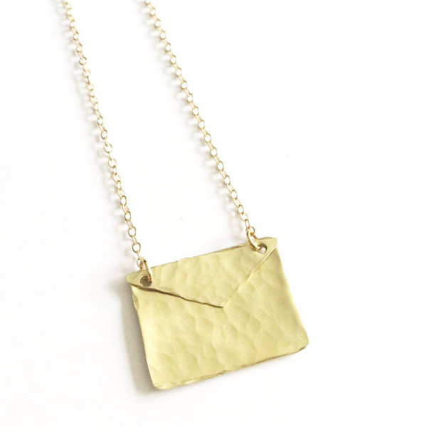 Gold Envelope Necklace