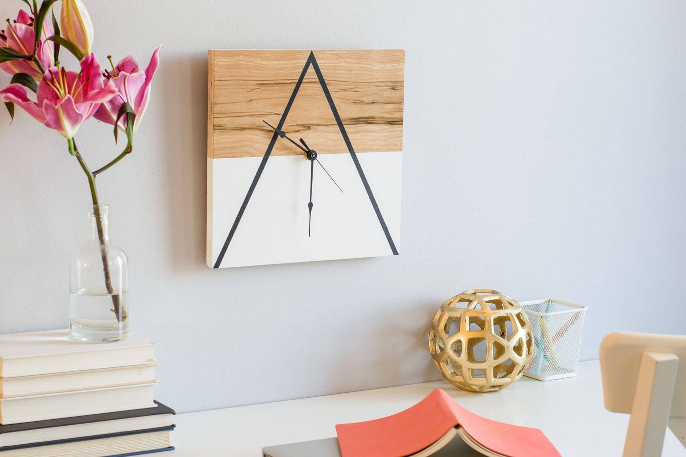 "12"" x 12"" Geometric Thin Triangle Clock"