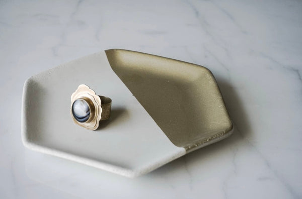 Hexagon Painted Trinket Dish - White Concrete & Gold