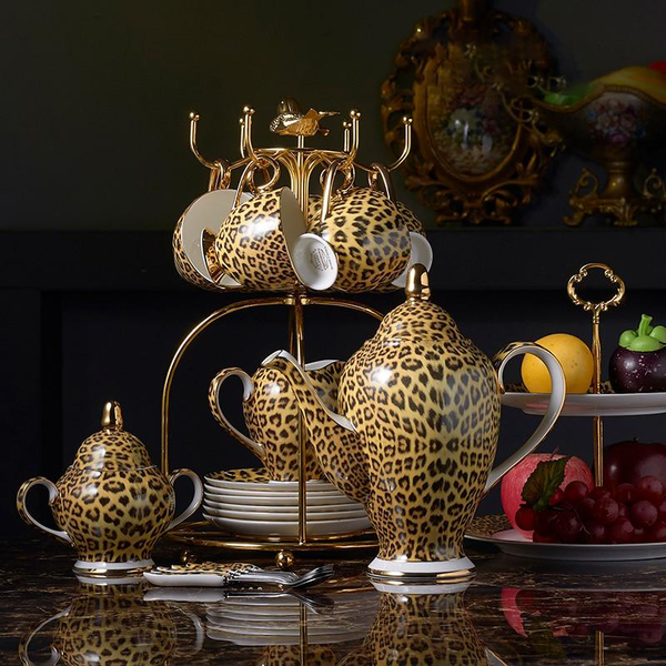 LEOPARD TEACUP COLLECTION SET