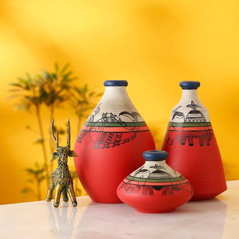 hand painted terracotta vases