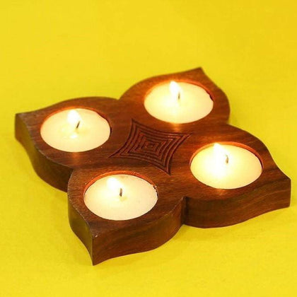 Handcrafted Sheesham Wood Tea Light Holder/ Candle Holder