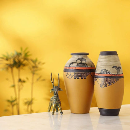 Set Of 2 Terracotta Vases With Madhubani Art