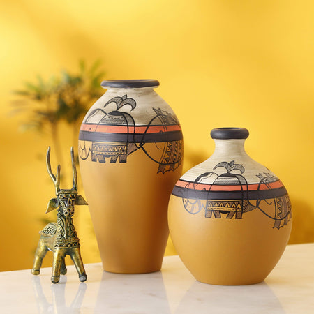 Set Of 2 Mustard Decorative Terracotta Vases With Madhubani Art