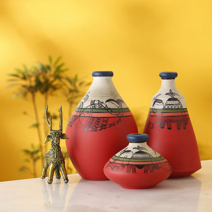 IndiaSupply Terracotta Handpainted Earthen Warli Vases for Home Décor/Flower Vases for Home Décor/Table Top Vases| Small Vases