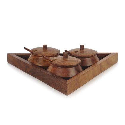 Triangular Wooden Tray With Handi And Spoon| Spice Rack Spice Holders Masala Container