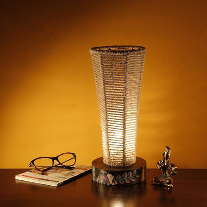Bedside Table Lamp With Wooden Base And Jute Shade
