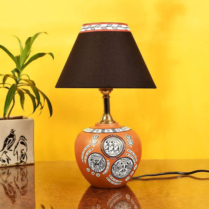 Hand Painted Terracotta Table Lamp For Bedroom| Designer Table Lamp For Living Room